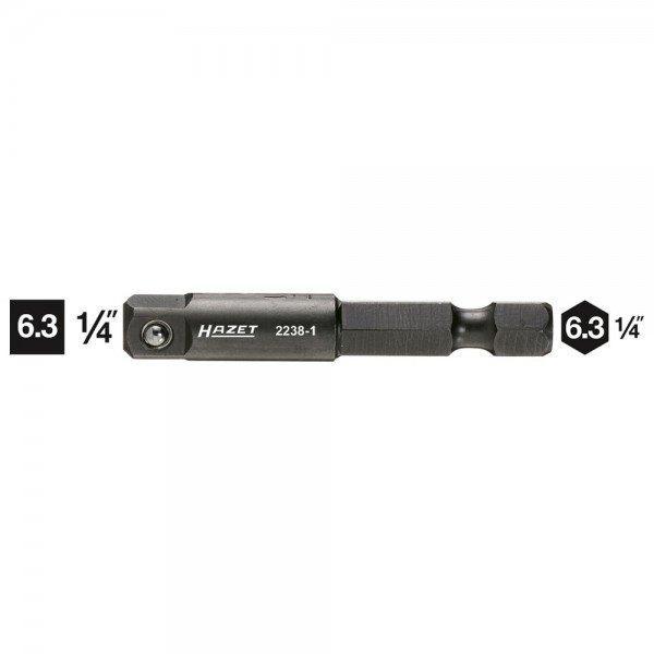 Hazet Adapter 2238-1 - Sechskant massiv 6,3 (1/4 Zoll) - Vierkant massiv 6,3 mm