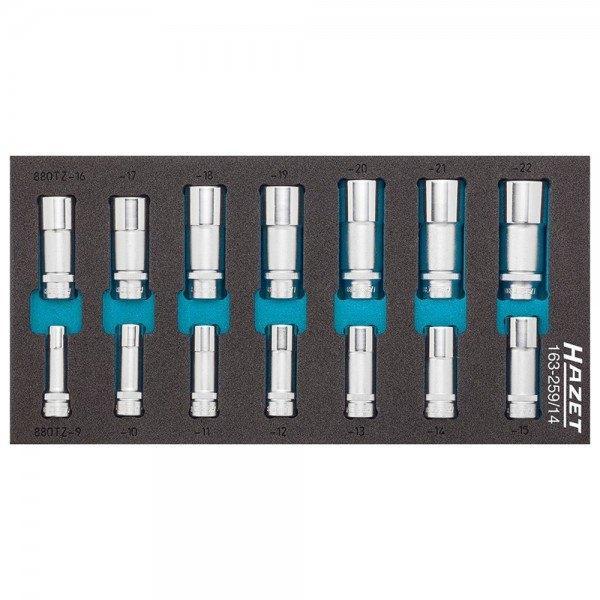 Hazet Steckschlüssel-Einsatz-Satz 163-259/14 - Vierkant hohl 10 mm (3/8 Zoll) -