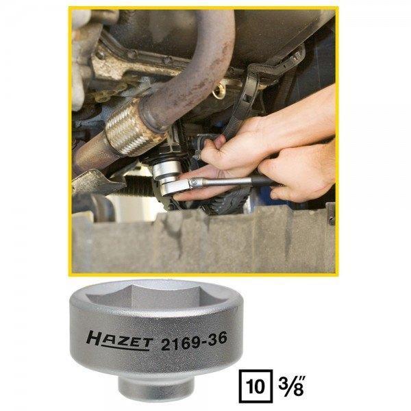 Hazet Ölfilter-Schlüssel 2169-36 - Vierkant hohl 10 mm (3/8 Zoll) - Außen-Sechs