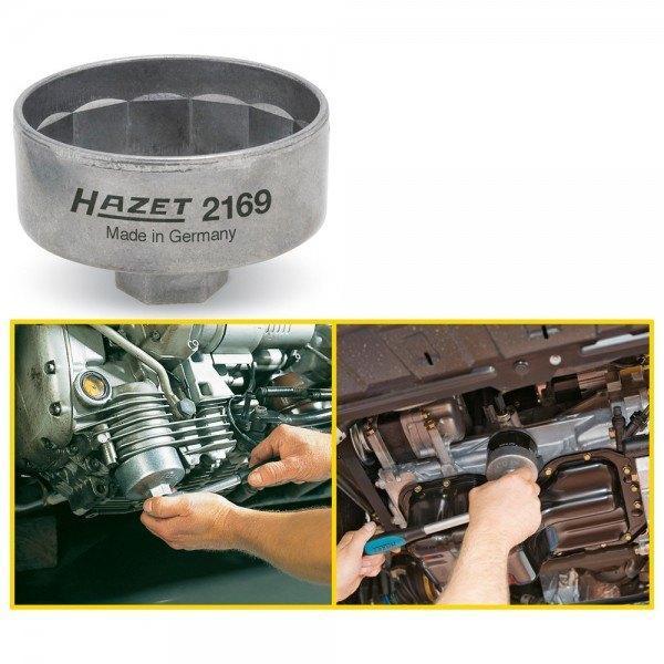 Hazet Ölfilter-Schlüssel 2169 - Vierkant hohl 10 mm (3/8 Zoll) - Außen-14-kant