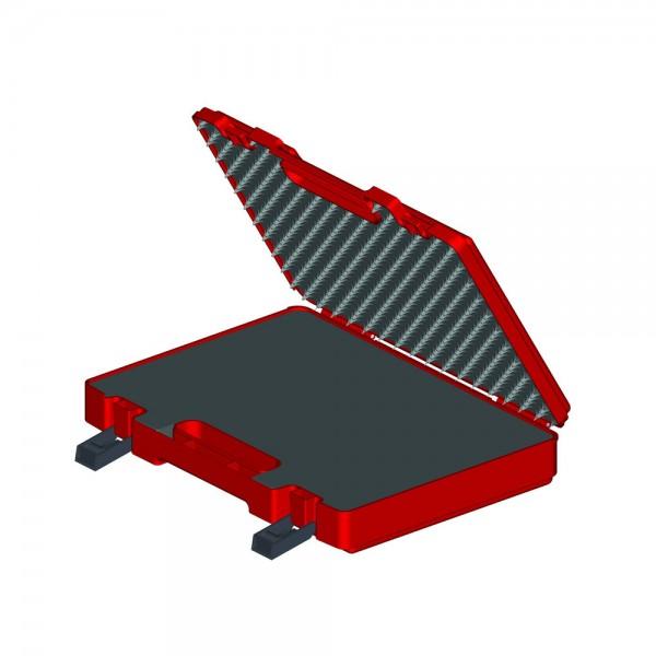Lemp Kunststoffkoffer leer, rot, ohne Schaumstoffeinlage, 384 x 290 x 71 mm