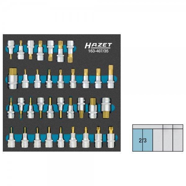Hazet Schraubendreher-Steckschlüsseleinsatz-Satz 163-407/35 - Vierkant hohl 12,