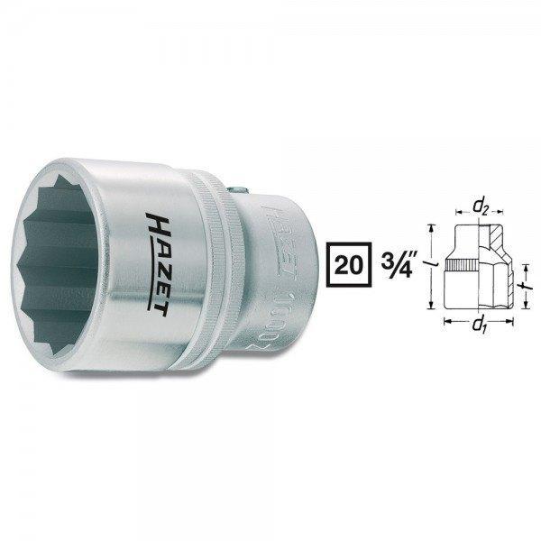 Hazet Steckschlüssel-Einsatz (Doppel-6kt.) 1000Z-35 - Vierkant hohl 20 mm (3/4