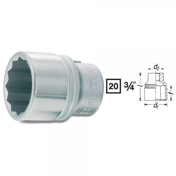 Hazet Steckschlüssel-Einsatz (Doppel-6kt.) 1000AZ-1.1/16 - Vierkant hohl 20 mm