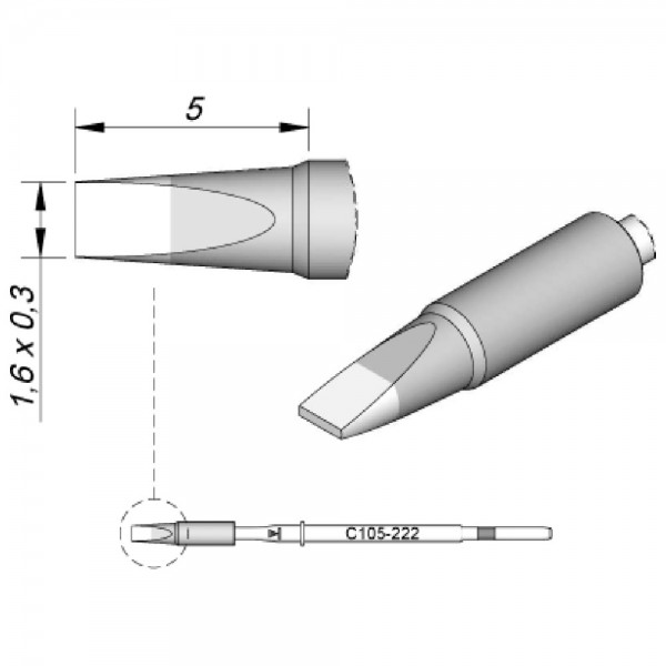 JBC Lötspitze Serie C115, Meißelform, C115222/1,6 x 0,3 mm, gerade, High Thermal