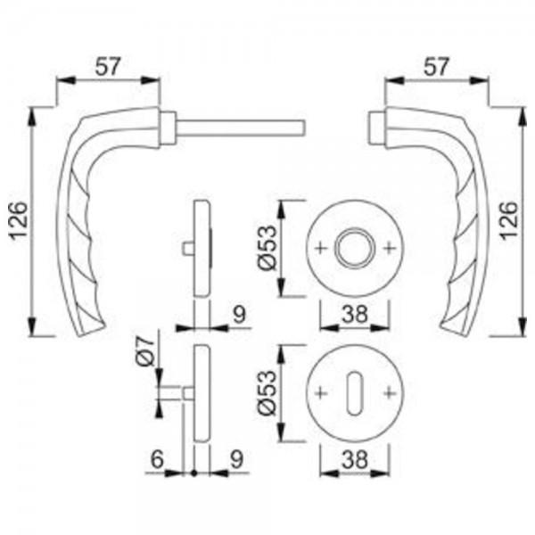 Hoppe Garnitur Rosette F1 1530/42KV/42KVS,8, PZ