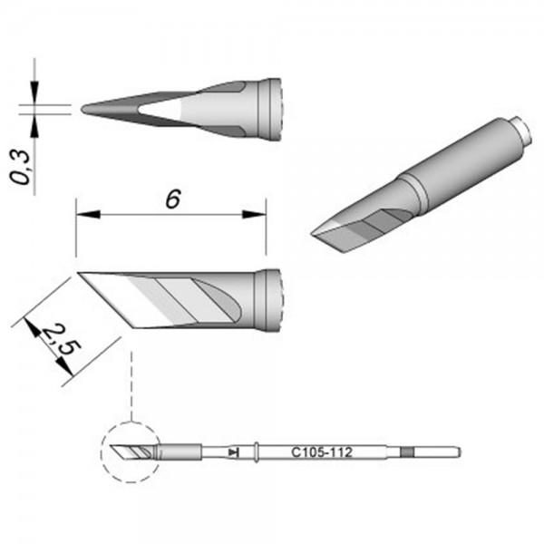 JBC Lötspitze Serie C115, Klingenform, C115112/2,5 x 0,3 mm, gerade