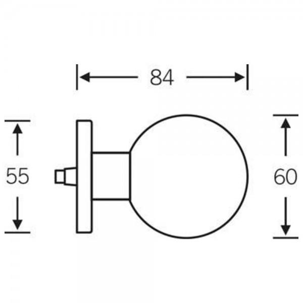 FSB HT-Türknopf, 0 23 0803, auf Rosette rund F69 ma, einseitig