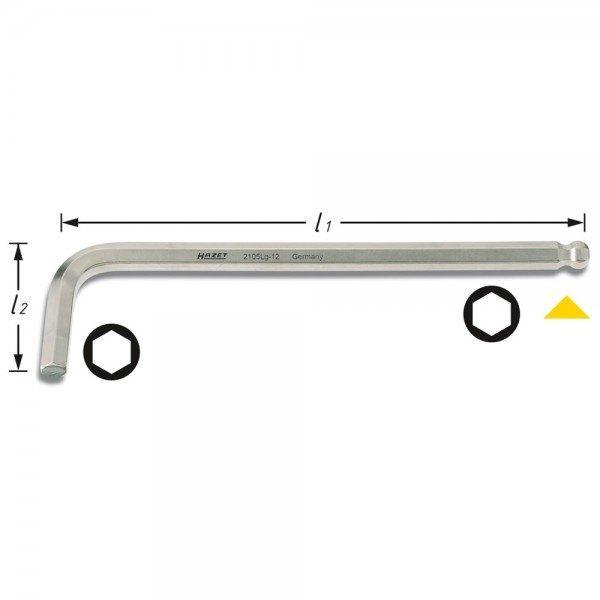 Hazet Winkelschraubendreher 2105LG-12 - Innen-Sechskant Profil - Schlüsselweite