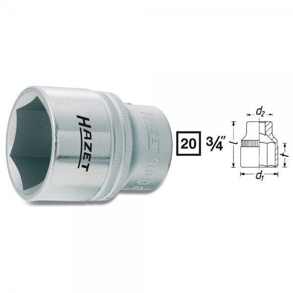 Hazet Steckschlüssel-Einsatz (6kt.) 1000-60 - Vierkant hohl 20 mm (3/4 Zoll) -