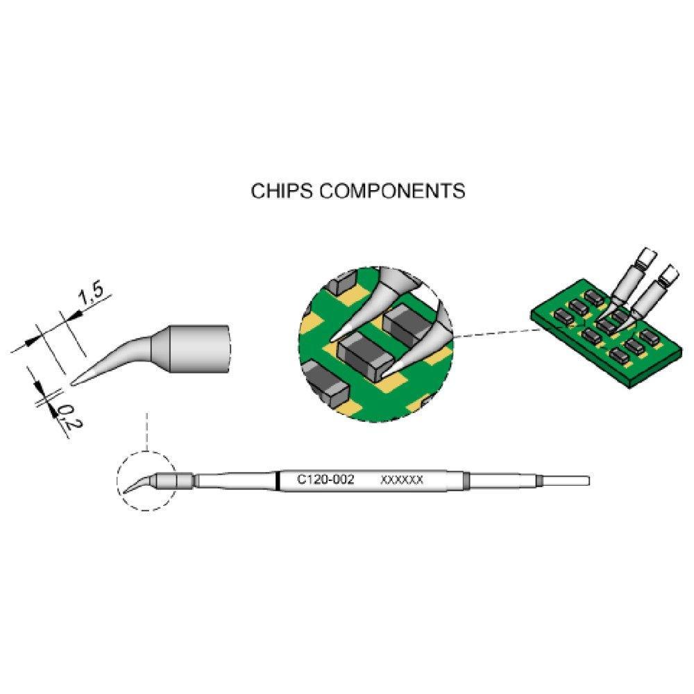 JBC Entlötspitze Serie C120 Chip-Komponenten gebogen C120004//Ø 0,7 mm