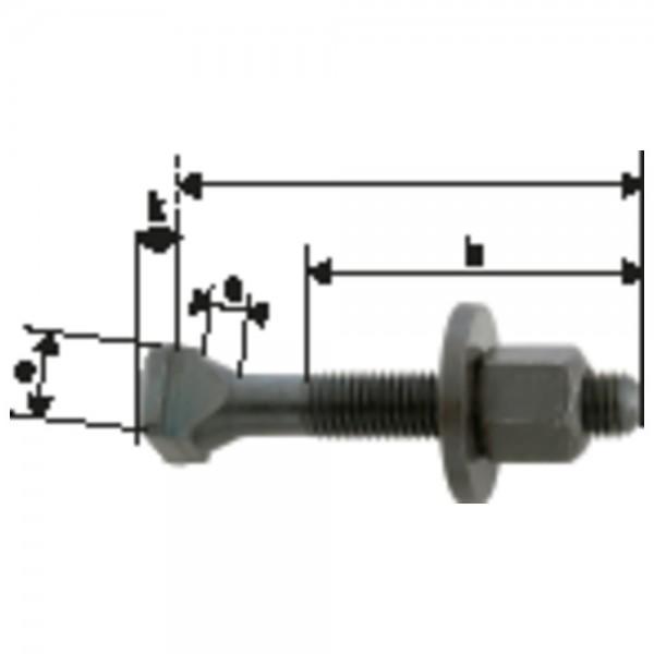 AMF Schraube für T-Nuten DIN 787 M24 x 28 x 250 mm komplett
