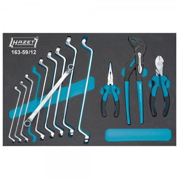 Hazet Werkzeug-Satz, Doppel-Ringschlüssel, Zangen 163-59/12 - Außen-Doppel-Sech