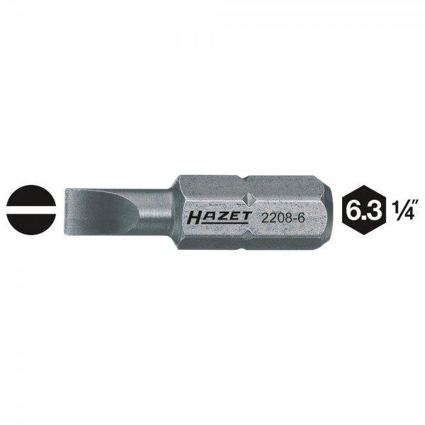 Hazet Bit 2208-9 - Sechskant massiv 6,3 (1/4 Zoll) - Schlitz Profil - Schlüssel