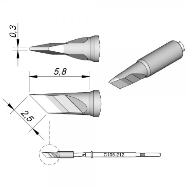 JBC Lötspitze Serie C115, Klingenform, C115212/2,5 x 0,3 mm, gerade