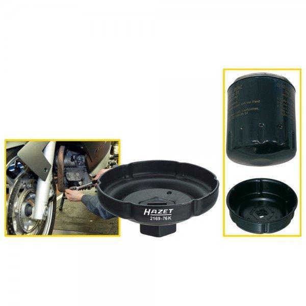 Hazet Ölfilter-Schlüssel 2169-76K - Vierkant hohl 12,5 mm (1/2 Zoll) - Rillenpr