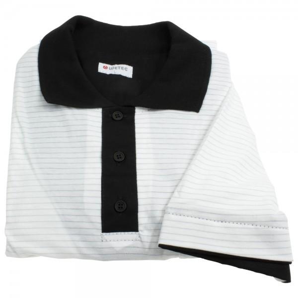 Wetec ESD-Polo-Shirt, mit schwarzem Kragen, L, weiß
