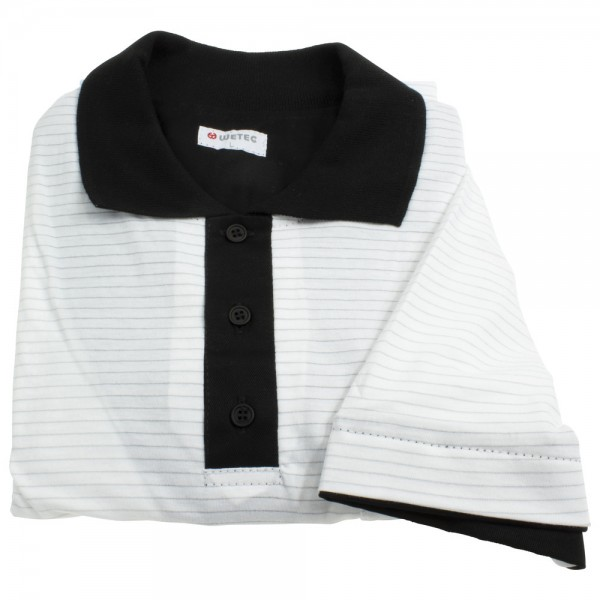 Wetec ESD-Polo-Shirt, mit schwarzem Kragen, XXXL, weiß