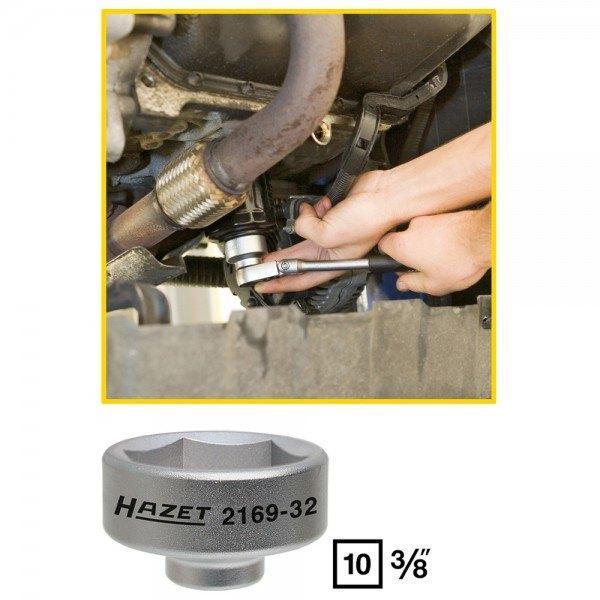 Hazet Ölfilter-Schlüssel 2169-32 - Vierkant hohl 10 mm (3/8 Zoll) - Außen-Sechs