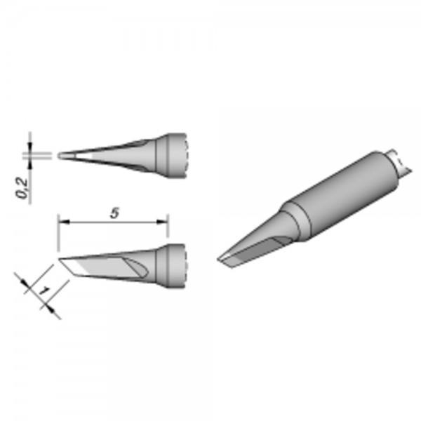 JBC Lötspitze Serie C115, Klingenform, C115120/1,0 x 0,2 mm, gerade