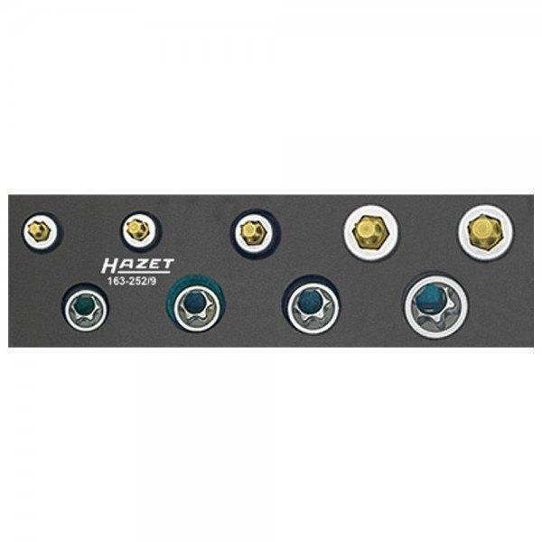 Hazet Werkzeug-Satz, TORX 163-252/9 - Vierkant hohl 10 mm (3/8 Zoll) - Außen TO