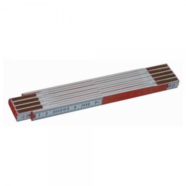 Dönges Gliedermaßstab 2 m, Holz, weiß/rot mit Aufdruck, 16 mm